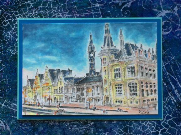 夕暮れの街コピックアート